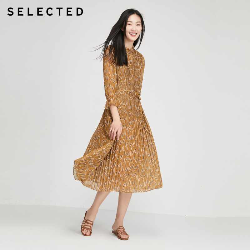 SELECTED Stand-up Collar Printed Flared 3/4 Sleeves Pleated Dress S|42022J524