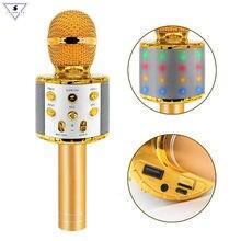 Ws858 L-Micrófono de Karaoke inalámbrico, altavoz con Bluetooth, luz Led, portátil, cantar y grabar, KTV, para teléfono IOS/Android
