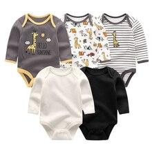 Vêtements à manches longues pour bébés garçons et filles, barboteuse avec licorne, vêtements en coton solide pour nouveau né, 5 pièces/lot, tendance 2019
