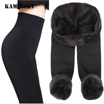 Autumn Winter Fashion Explosion Model Plus Thick Velvet Warm Seamlessly Integrated Inverted Cashmere Leggings Warm Pants image