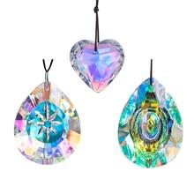 H&D Set of 3,50mm/76mm Crystal Aurora Borealis Prisms Suncatcher chandelier Parts Rainbow Maker Window Hanging Ornaments Decor