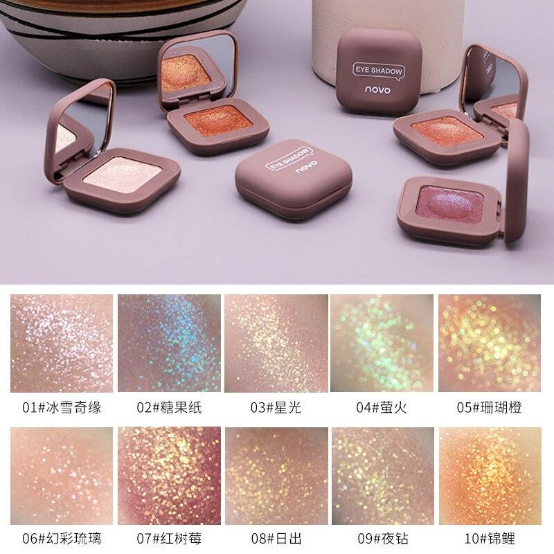 Novo 10 cores único destaque sombra purê de batata shimmer olho sombra maquiagem altamente pigmentada olho-chatching cosméticos tslm1