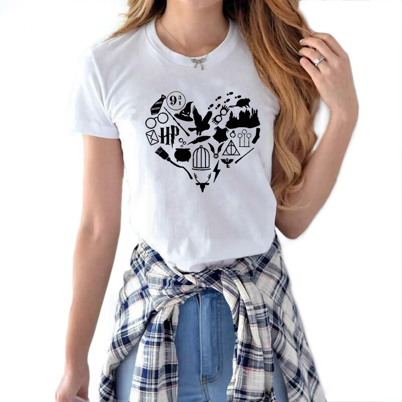 Love Potter Heart Graphic T Shirt Women 2019 Summer Casual Short Sleeve White Women's T-shirt Harajuku Streetwear Tee Shirt Tops