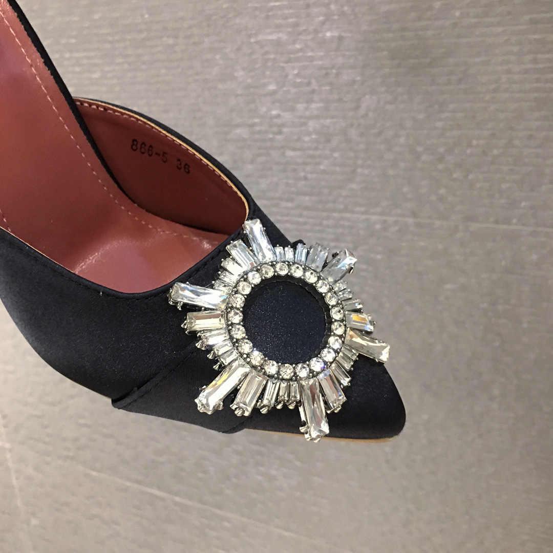 קריסטל נשים משאבות סנדלי אלגנטי הבוהן מחודדת ריינסטון גבוהה עקבים נעלי בלינג קריסטל פרספקס ספייק עקב Mule