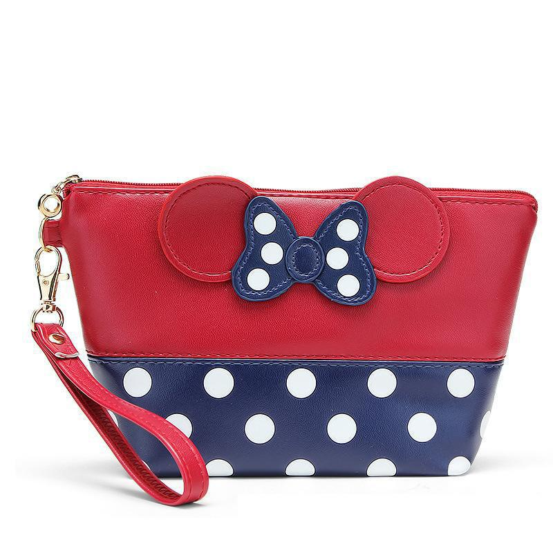2019 AliExpress Hot Selling Europe And America Mickey Bow Dotted Pu Makeup Storage Bag Handbag Manufacturers Direct Selling