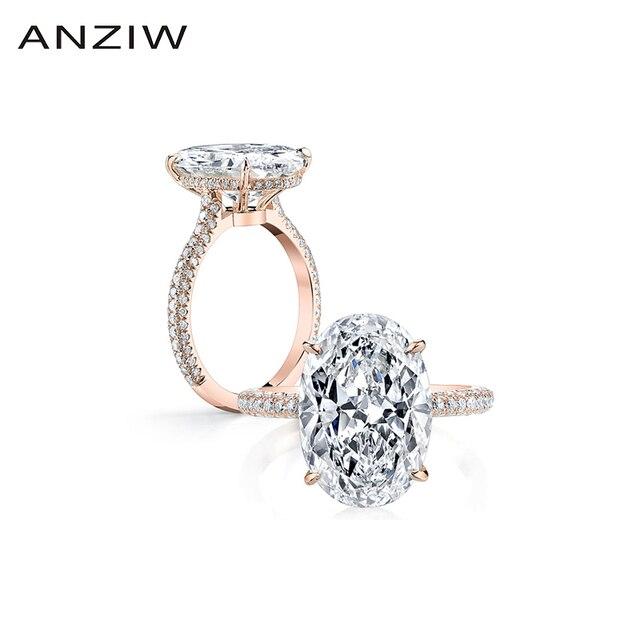 יוקרה 925 כסף סטרלינג טבעת רוז זהב צבע 5 קרט גדול סגלגל לחתוך SONA טבעת נשים חתונת אירוסין יום נישואים zilvere טבעת