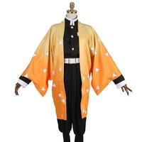 Japanese Anime Demon Slayer Kimetsu no Yaiba Agatsuma Zenitsu Outfit Cosplay Costume Men's Kimono Uniform Halloween Party