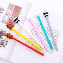 6pcs Korean version of stupid cute cartoon Panda gel creative black bear brown pen student stationery