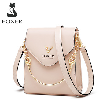 FOXER Chic Phone Clutch Bag Girls Mini Mobile Totes Lady Party Shoulder Split Leather Crossbody Stylish Purse