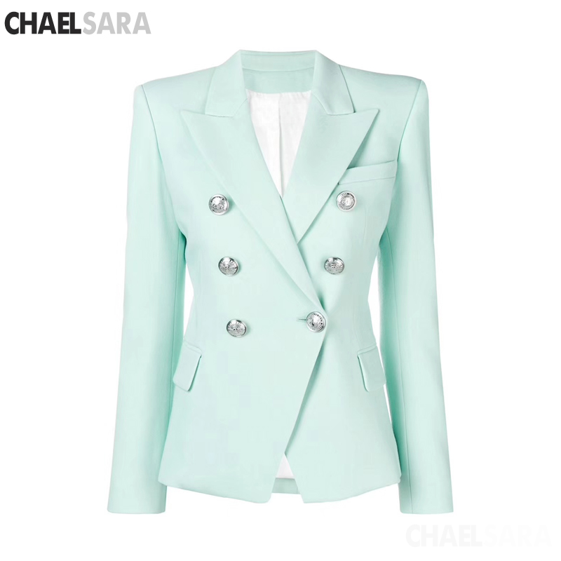 2019 Spring Autumn Slim Fit Women Formal Jackets Office Work  Double Breasted Notched Ladies Blazer Coat
