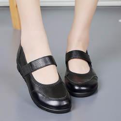 Демисезонные женские туфли из натуральной кожи туфли на плоской подошве больших размеров для среднего возраста Нескользящие туфли на