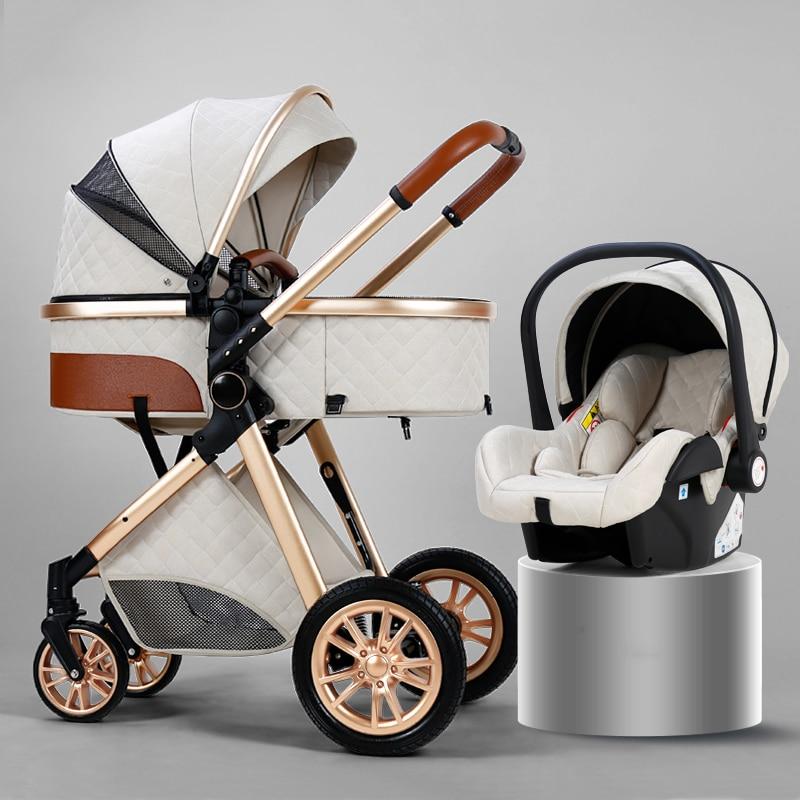 לוקסוס בייבי עגלת 3 ב 1 נייד נסיעות עגלת תינוק מתקפל עגלות אלומיניום מסגרת גבוהה נוף רכב ליילוד תינוק