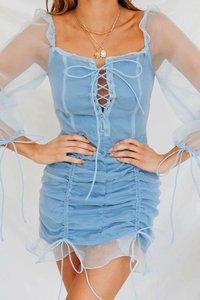 Image 3 - Vintage bandaż plisowana siateczka sukienka kobiety wzburzyć czarny bodycon kobiety sukienka bufiaste rękawy mujer verano 2019 jesień nowości
