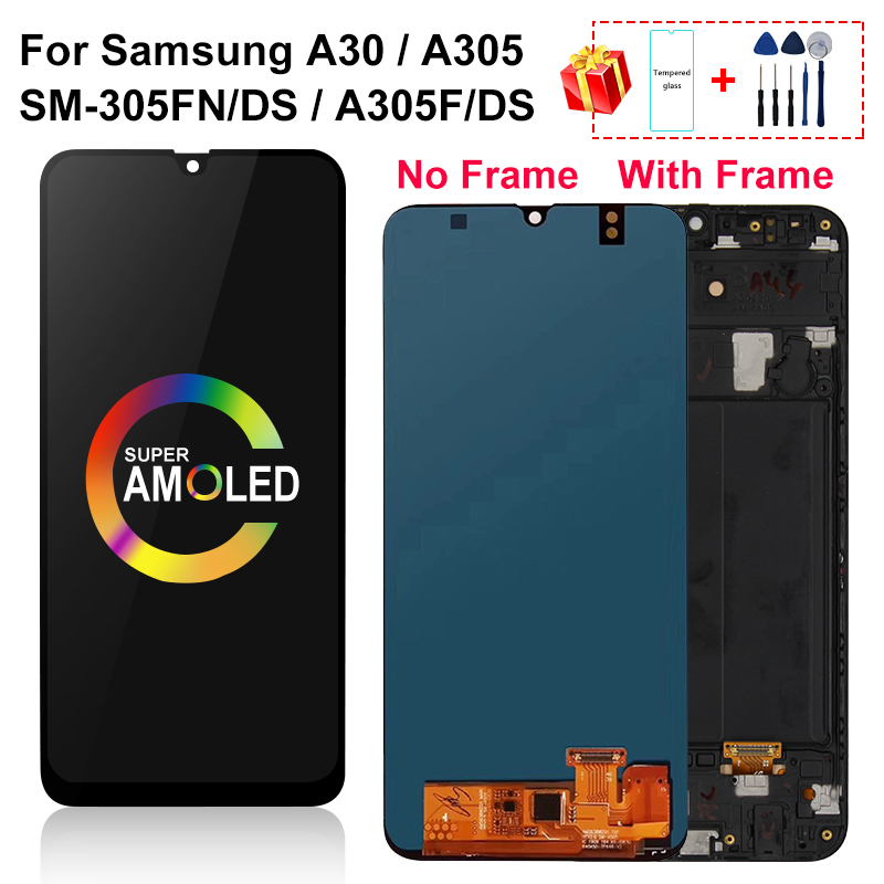 AMOLED For <font><b>Samsung</b></font> <font><b>galaxy</b></font> <font><b>A30</b></font> <font><b>LCD</b></font> A305/DS A305F A305FD A305A Display with frame Touch Screen Digitizer Assembly Part image