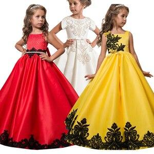 Robe de mariée pour filles | Tenue de soirée élégante, motif floral, avec nœud, pour noël
