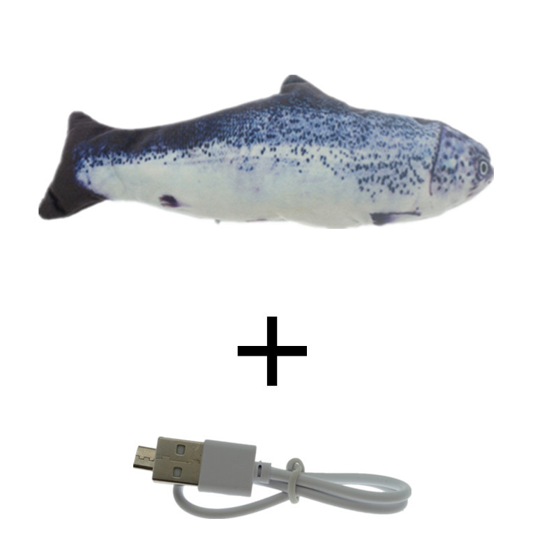 Gray-30CM Cat Toy Fish USB Electric Charging Simulation Dancing Jumping Moving Floppy Fish