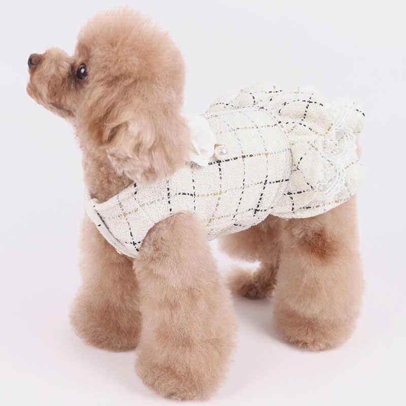 Cão de estimação vestido quente 100% algodão engrossar mais veludo para cães pequenos roupas adornam flor pérola renda princesa tutu vestido poodle pug