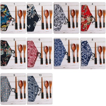 4pcs/set Kitchen Utensil with Cloth Bag Bamboo Reusable Portable Wooden Cutlery Set Spoon Fork chopsticks for Travel Outdoor 2
