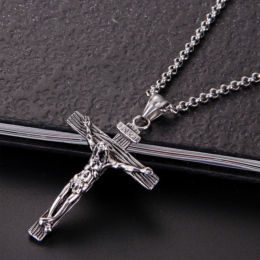 New Jesus Cross Pendant Necklace For Men Women Gold Silver Color Christian Religious Necklaces Easter Day Jewelry