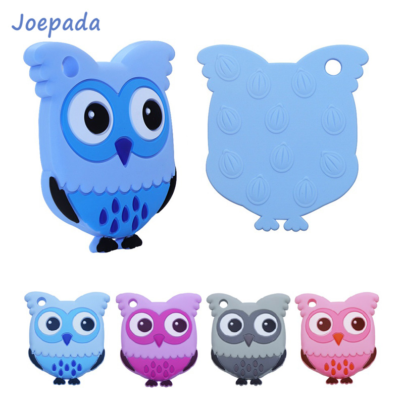Joepada 1PC Silicone Teethers Animal Owl Food Grade BPA Free For Baby Teething Chew Charms Silicone Teether Beads Toy DIY Gift