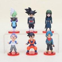 6 adet/takım 6cm Dragon topu Acion şekil Son Goku siyah sandıklar Zamasu modeli PVC Action Figure oyuncak noel