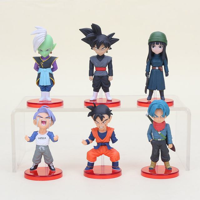 6pcs/set 6cm Dragon ball Acion Figure Son Goku Black Trunks Zamasu Model PVC Action Figure Toy Christmas