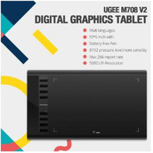 """Ugee M708 V2 Digital Tablets Graphics Drawing Tablet for painting """"10x6 inch 8192 Level Graphic Tablet with Battery free Pen"""
