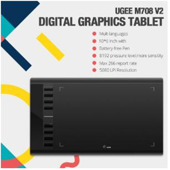 Ugee M708 V2 Digital Tablets Graphics Drawing Tablet for painting 10x6'' inch 8192 Level Graphic Tablet with Battery-free Pen