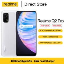 Neueste Realme Q2 Pro 5G Smartphone 6.4 ''FHD + Dimensity 800U Octa Core 48MP AI Quad Kamera 4300mAh 65W Schnelle Ladegerät handy