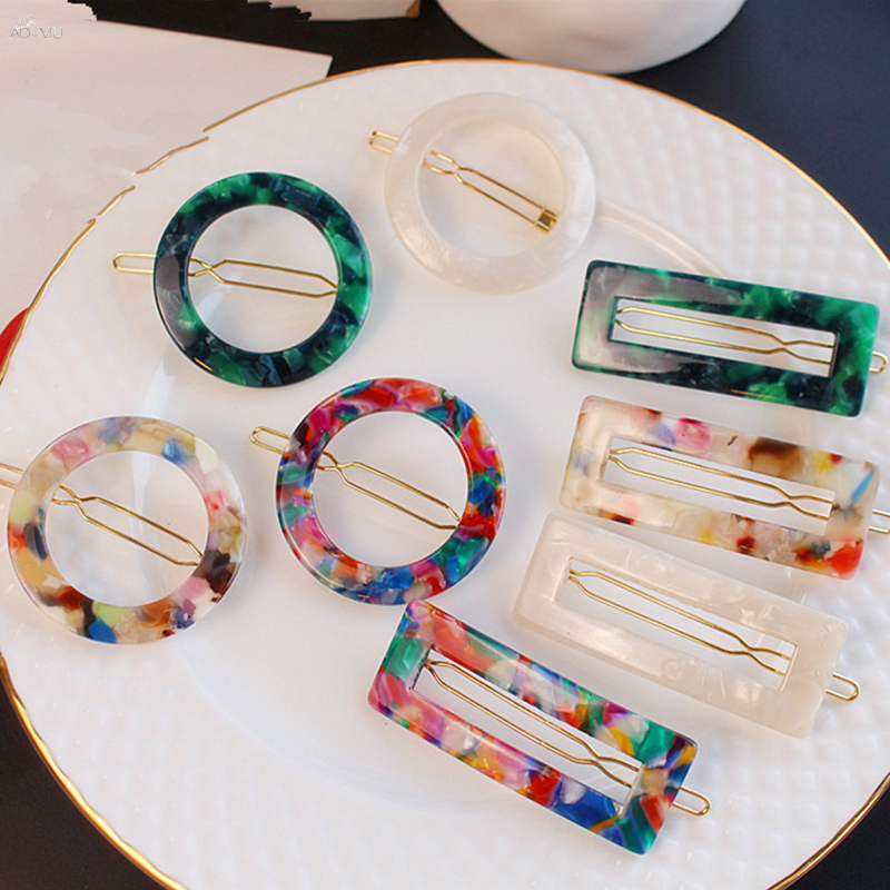 AOMU 2019 Fashion Geometric Round Rectangle Acrylic Hair Clips For Women Colorful Marble Acetic Acid Hairpin Hair Accessories