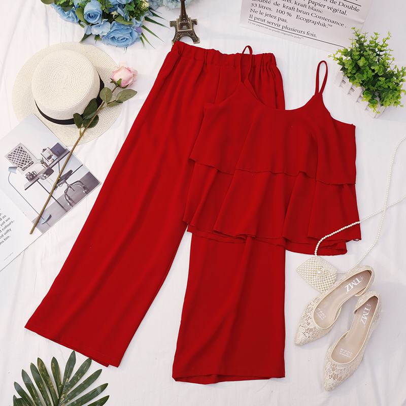 Heliar 2020 Summer Spaghtti Double Layers Tank Top And High-Waisted Trousers Two Pc Outfits Women Summer Suits Top And Trousers