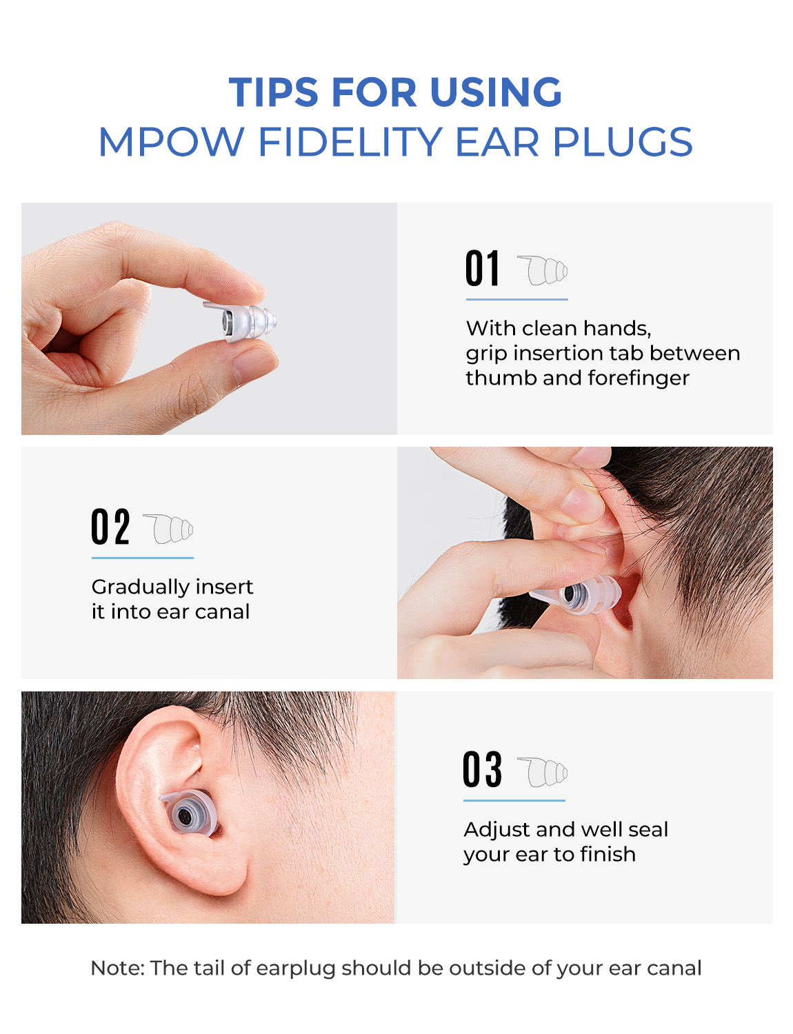 Image 5 - Mpow HP096 2Pairs High Fidelity Earplugs SNR 28dB/ NRR 24dB Noise Reduction Music Concert Ear Plugs With Carry Case For FestivalEar Protector   -