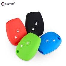KEYYOU funda de silicona para la llave del coche con 2 botones para Renault Kangoo