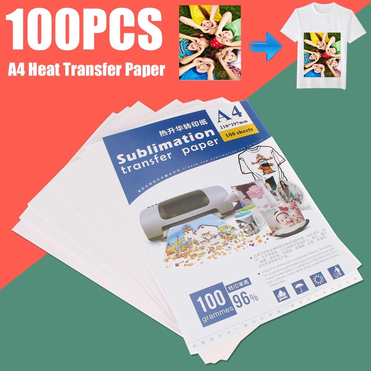 100 шт. A4 Термотрансферная бумага для печати футболок, машина для горячего штамповки, лампа/темная переводная бумага