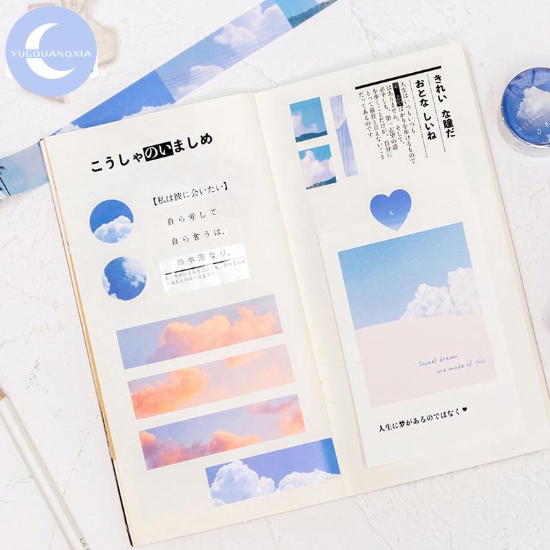 YueGuangXia 6 Designs Sky Fantasy Cloud Creative Deco Bullet Journaling Washi Tapes Scrapbooking DIY Decoration Masking Tapes