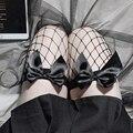 Симпатичные прозрачные чулки OJBK из прозрачной сетки, чистые красивые чулки выше колена с черно-белым бантом, сексуальные подтяжки, шелковые...