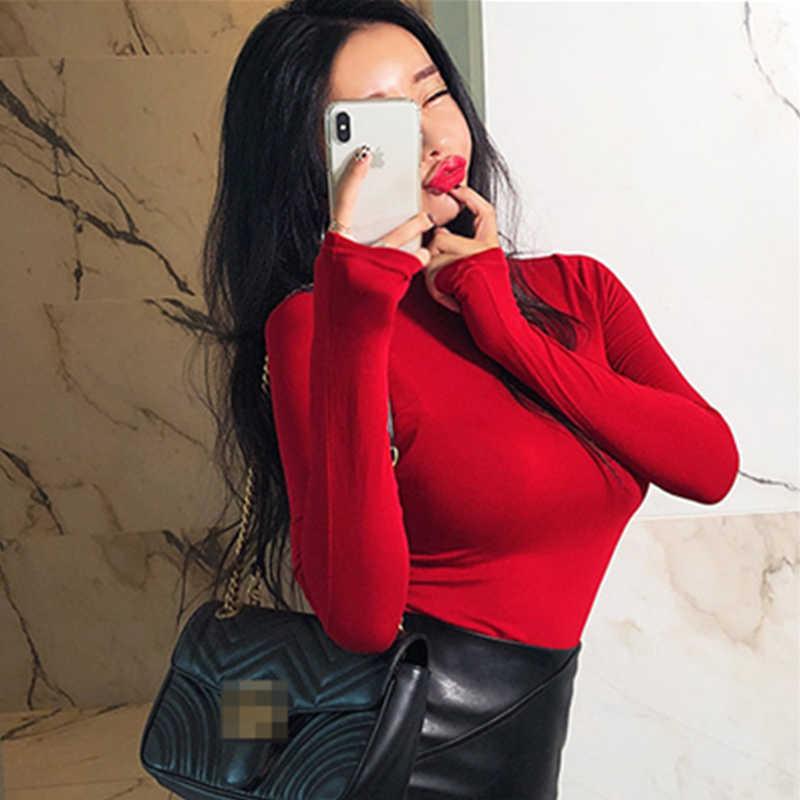 새로운 봄 레이디 블랙 솔리드 레드 터틀넥 섹시 슬림 맞는 티 여성 Highstreet 캐주얼 긴 소매 Tshirt 탑 여성 t 셔츠