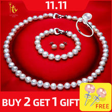 NYMPH FreshWater Pearl Jewelry Set For Women Natural Baroque White Stone Beads Choker Necklace Earrings Bracelet Party [T207](China)