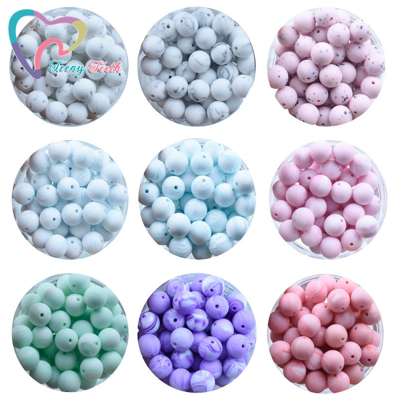 Image 2 - Teeny Teeth 100 PCS 45 Colors 12 15 MM Silicone Baby Teether Round Beads BPA Free Chewable Silicone Beads DIY Teething Toys-in Beads from Jewelry & Accessories