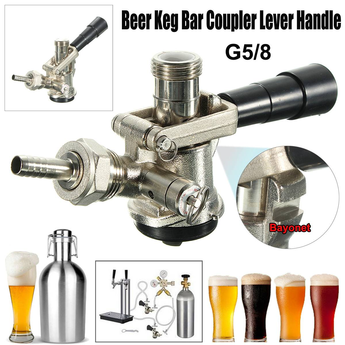 NEW D/S Type Beer Keg Coupler Draft Beer Dispenser For Home Brew Connectors Coupler Head For Home Brew Wine Beer Dispenser