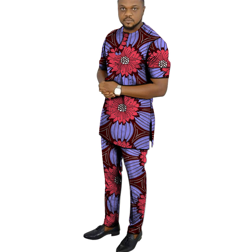 African Print Shirts+pant Men's Set Clothing Short Sleeve Top With Trouser 2 Pieces Outfits Man Wedding Wear Customized