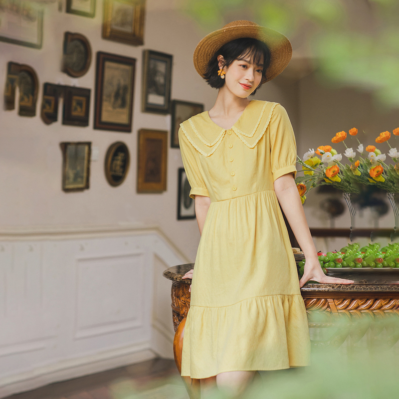 INMAN 2020 Summer New Arrival Short Sleeve Dress Doll Collar Vintage Retro Sweet Girl Style Women Dress