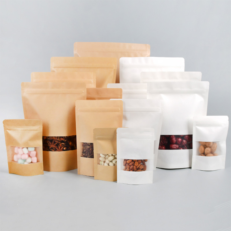 100pcs/Kraft Paper Bag Self Sealing Bag Thickened Windowed Tea Melon Seeds Beef Dried Fruit Zero Food Sealed Mouth Small Package