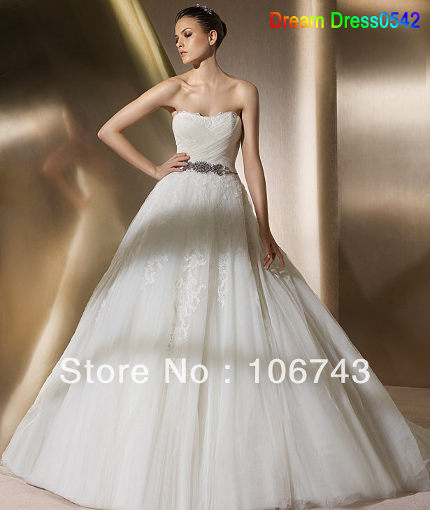Dresses Free Shipping 2016 New Custom Made Ivory/White Tulle Lace A-Line Strapless Wedding Dress Bride Gown