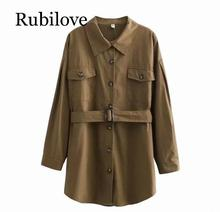 Rubilove Women Long Shirt 2019 Spring Summer Cotton Shirts Solid Color Boyfriend Style Tops High Street Fashion
