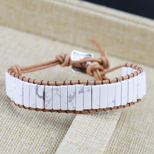Natural stone White Turquoises Bracelet Tube Beads Leather Wrap Bracelet Couples Bracelets Chakra Bracelet Jewelry Handmade