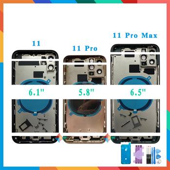 Jakość AAA tylna pokrywa dla iPhone 11 Pro Max 11 11pro pokrywa obudowy pokrywa baterii tylne drzwi obudowa środkowa rama ze szkłem tanie i dobre opinie Booiucek CN (pochodzenie) Z aluminium For iPhone 11 ProMax 11 11Pro Apple iPhone High quality AAA+ Wholesale China Back Housing Cover Glass Middle Frame