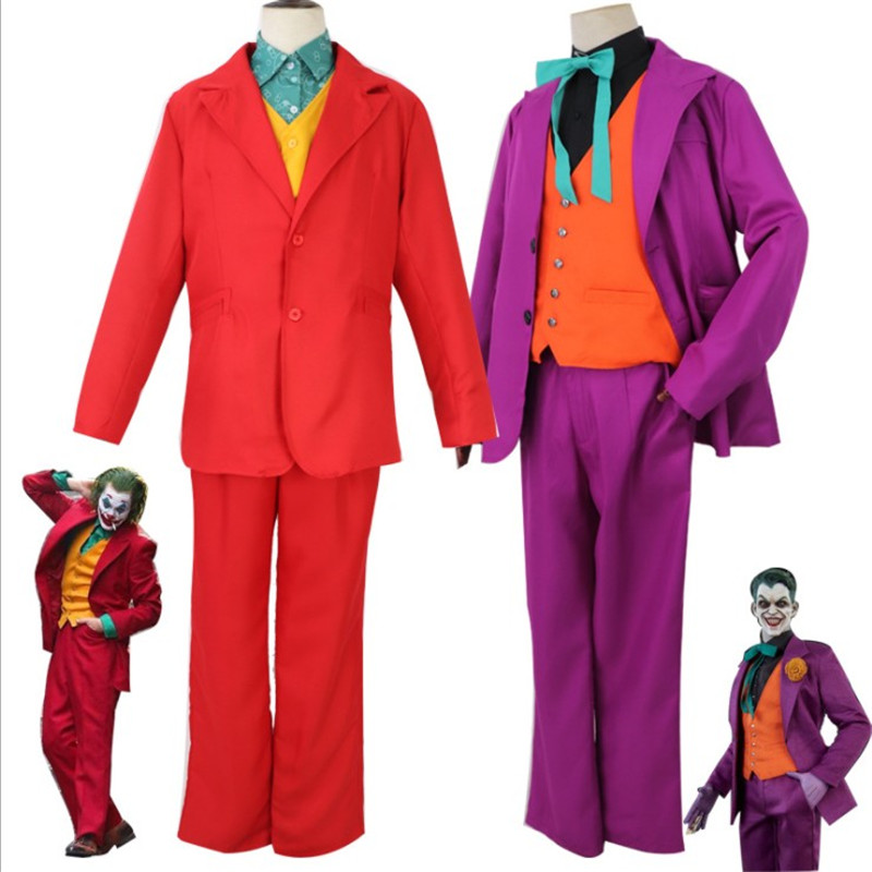 Новинка 2019 года; Лидер продаж; костюм Джокера из фильма; костюм героя Хоакина Феникса; красный и фиолетовый; два стиля; костюм для Хэллоуина; ...