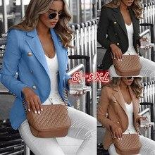 Plus Size Women OL Long Sleeve Button Blazer Work Jacket Coat Outwear TopS Suit Buttons Slim Open Stitch Blazers Jacket Fall New