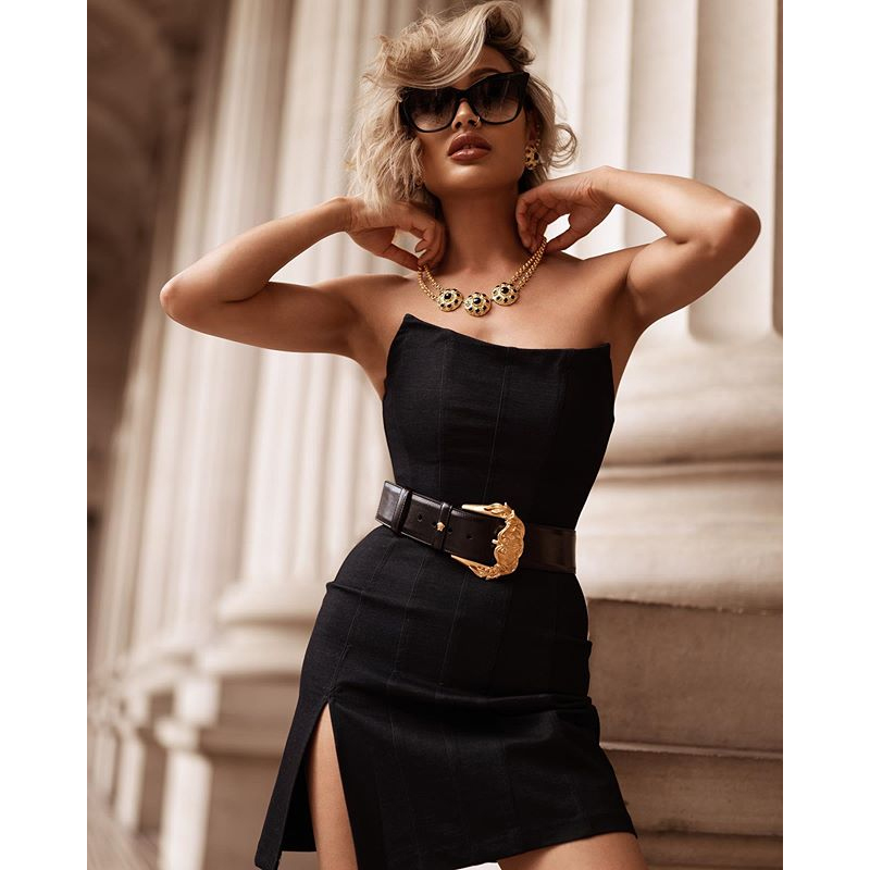 Women's 2020 summer new sexy tube top dress sexy black mini backless dress ladies party shopping tight dress image
